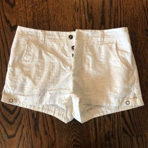 Free People Button Up White Lace Shorts